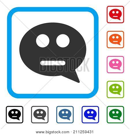 Neutral Smiley Message icon. Flat gray iconic symbol inside a blue rounded rectangular frame. Black, gray, green, blue, red, orange color variants of Neutral Smiley Message vector.