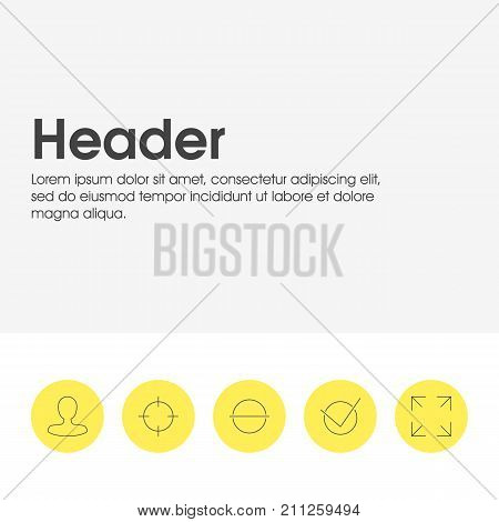 Editable Pack Of Wide Monitor, Remove, Yes And Other Elements.  Vector Illustration Of 5 User Icons.