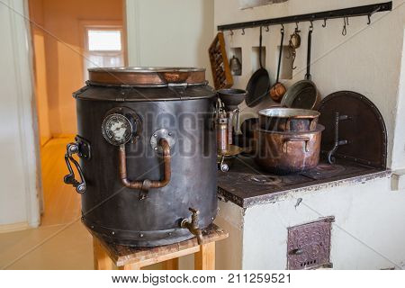 Kolomna, Russia - July 7, 2017: Kolomna, the museum of the pastille. The production of marshmallow according to old Russian recipes. Old Russian way of life