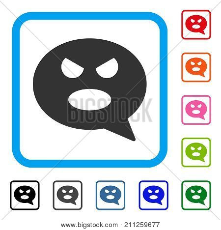 Shout Smiley Message icon. Flat grey iconic symbol inside a blue rounded squared frame. Black, gray, green, blue, red, orange color additional versions of Shout Smiley Message vector.