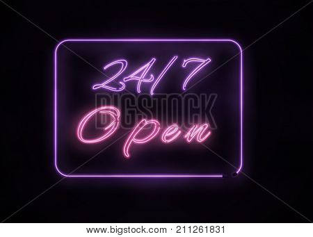 Neon Open 24 7 Sign On Black Background.