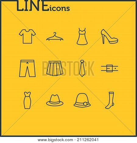 Editable Pack Of Sandal, Cravat, Hosiery Elements.  Vector Illustration Of 12 Garment Icons.
