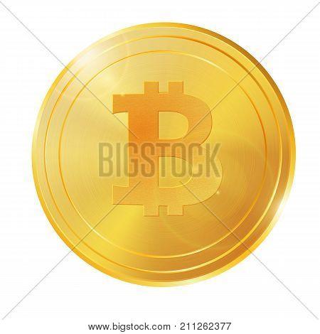 Realistic 3D Golden Bitcoin Coin Vector Illustration For Fintech