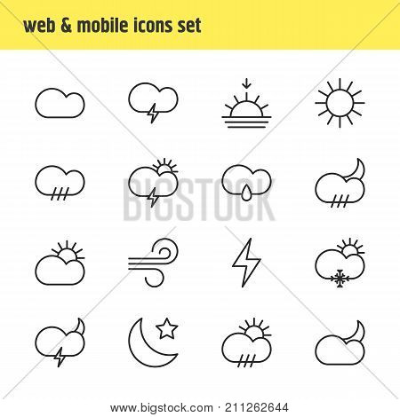 Editable Pack Of Fulminant, Sun, Windstorm And Other Elements.  Vector Illustration Of 16 Weather Icons.
