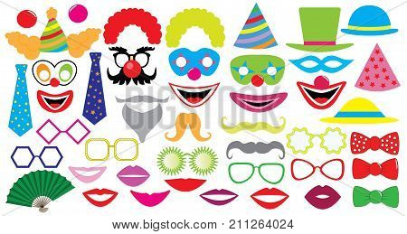 Birthday party set. Clown hat cap glasses lips mustaches tie and etc. icons.