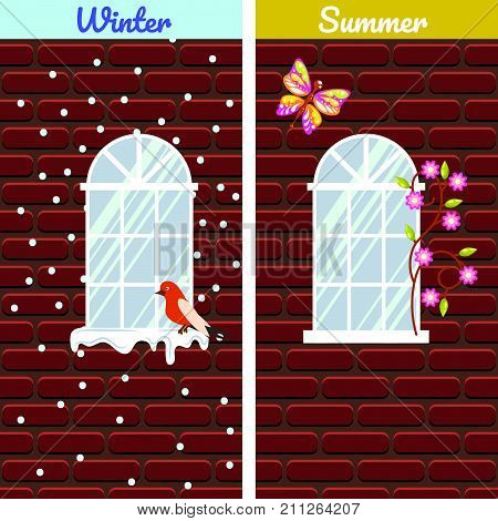 Windows on red brick wall building winter and summer comparison. Birds on snow cornice in winter, flowers and butterfly in summer.