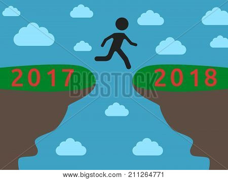 Silhouette committing jump from 2017 on 2018 year on blue sky background. New year, happy and christmas concept. Flat design. Vector illustration. EPS 8, no transparency