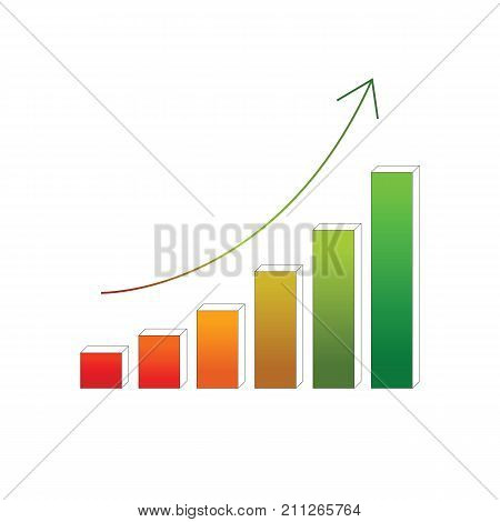 Financial colorful growing chart vector with arrow.