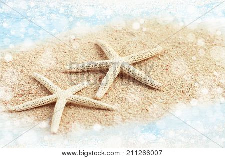 Starfish relaxing on beach, beige sand sea water bokeh light sparkling effect. Soft faded tones.