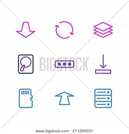Editable Pack Of Synchronize, Downward, Upward And Other Elements.  Vector Illustration Of 9 Memory Icons.
