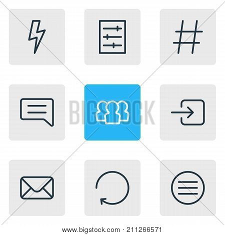 Editable Pack Of Letter, Sign In, Flash And Other Elements.  Vector Illustration Of 9 Annex Icons.