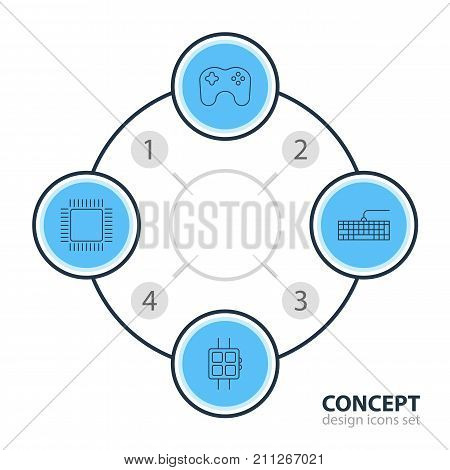 Editable Pack Of Qwerty Board, Gamepad, Microprocessor And Other Elements.  Vector Illustration Of 4 Computer Icons. poster