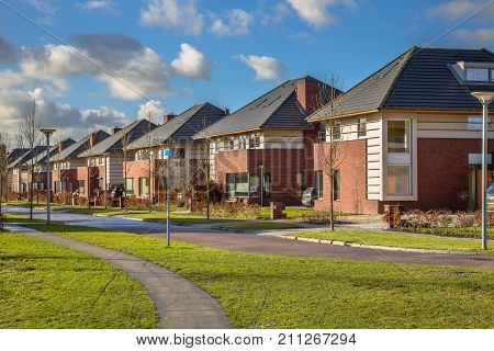 Detached Family Houses In A Suburban Street