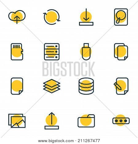 Editable Pack Of Synchronize, Memory, Arrow Up And Other Elements.  Vector Illustration Of 16 Memory Icons.