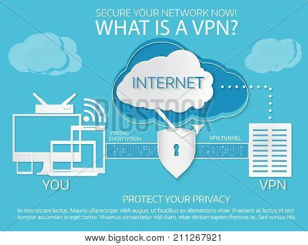 What Is A Vpn. Infographic Template. Paper Cut Style.
