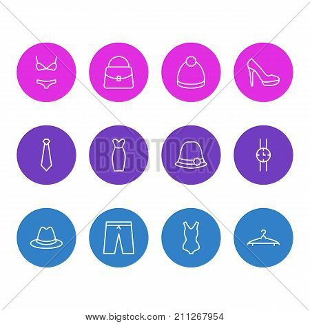 Editable Pack Of Panama, Pompom, Cloakroom And Other Elements.  Vector Illustration Of 12 Garment Icons.