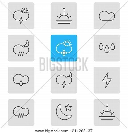 Editable Pack Of Weather, Windstorm, Drip And Other Elements.  Vector Illustration Of 12 Atmosphere Icons.