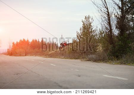 Buggy Car In The Sunlight. Driver With The Second Assistants In The Car Buggy Ride. Riding  Buggy