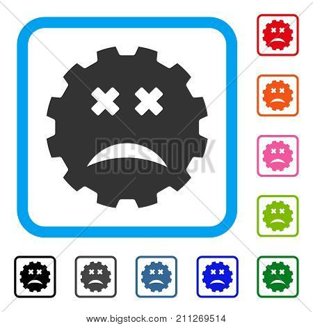 Blind Smiley Gear icon. Flat gray pictogram symbol inside a blue rounded frame. Black, gray, green, blue, red, orange color additional versions of Blind Smiley Gear vector.