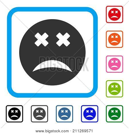 Blind Smiley icon. Flat gray pictogram symbol inside a blue rounded rectangle. Black, gray, green, blue, red, orange color variants of Blind Smiley vector. Designed for web and app interfaces.