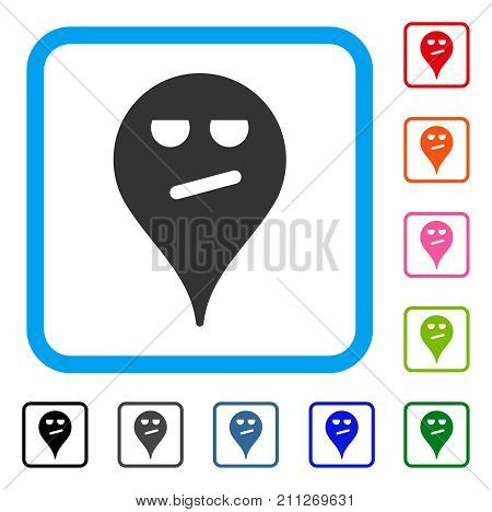 Bored Smiley Map Marker icon. Flat grey pictogram symbol in a blue rounded rectangle. Black, gray, green, blue, red, orange color variants of Bored Smiley Map Marker vector.