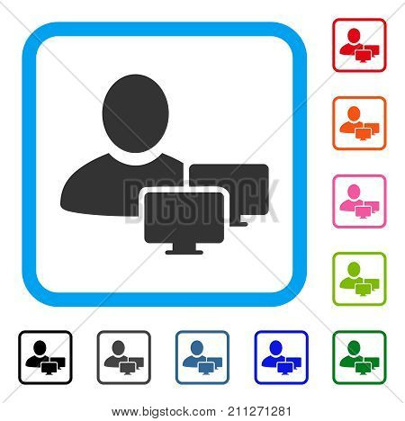 Computer Administrator icon. Flat grey iconic symbol inside a blue rounded frame. Black, gray, green, blue, red, orange color versions of Computer Administrator vector.