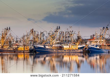 Dutch Fishing Fleet During Majestic Sunset