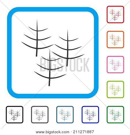 Dead Forest icon. Flat gray iconic symbol inside a blue rounded rectangular frame. Black, gray, green, blue, red, orange color additional versions of Dead Forest vector.