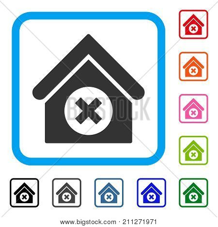 Delete Building icon. Flat gray pictogram symbol in a blue rounded frame. Black, gray, green, blue, red, orange color additional versions of Delete Building vector. Designed for web and app UI.