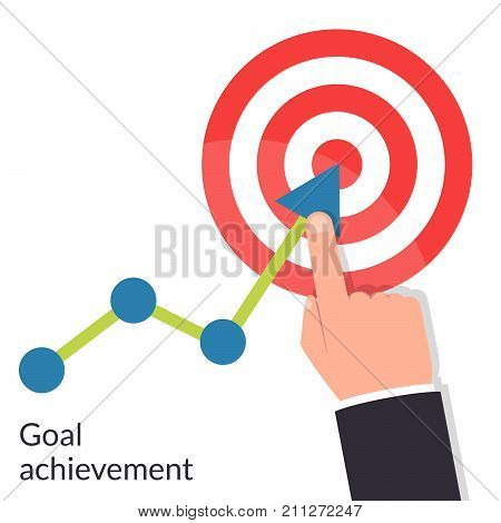 Goal achievement. Path chart to target. Successful way up to goal. Ambition business. Businessman to top graph. Aspiration to victory. Vector illustration flat design. Isolated on white background