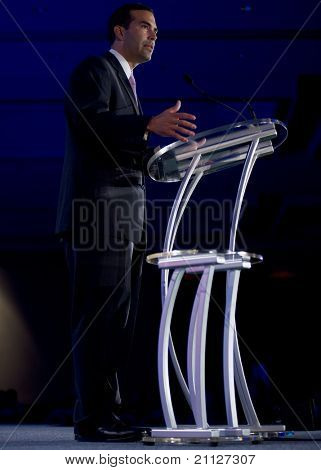 NEW ORLEANS, LA - JUNE 18: George P. Bush, son of former Florida Gov. Jeb Bush, addresses the Republican Leadership Conference on June 18, 2011 at the Hilton Riverside New Orleans in New Orleans, LA.
