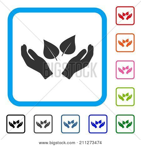Flora Care Hands icon. Flat gray iconic symbol in a blue rounded frame. Black, gray, green, blue, red, orange color additional versions of Flora Care Hands vector. Designed for web and app interfaces.