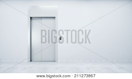 Room With Elevator And Blank Wall