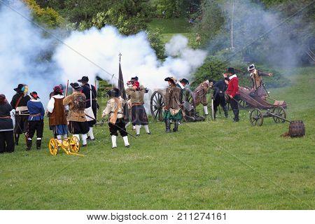 Brno Czech republic August 12th 2017: Swedish historical army The Thirty Years' War Swedish artillery