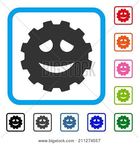 Funny Smiley Gear icon. Flat grey pictogram symbol inside a blue rounded rectangle. Black, gray, green, blue, red, orange color versions of Funny Smiley Gear vector.