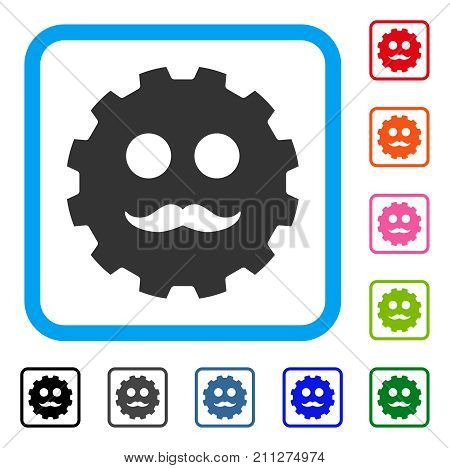 Gentleman Smiley Gear icon. Flat grey iconic symbol in a blue rounded squared frame. Black, gray, green, blue, red, orange color additional versions of Gentleman Smiley Gear vector.