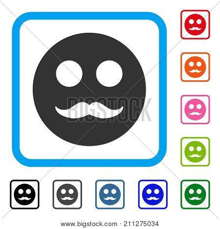 Gentleman Smiley icon. Flat gray pictogram symbol in a blue rounded square. Black, gray, green, blue, red, orange color versions of Gentleman Smiley vector.