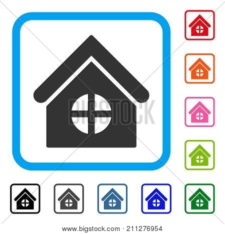 House With Round Window icon. Flat gray iconic symbol inside a blue rounded square. Black, gray, green, blue, red, orange color versions of House With Round Window vector.