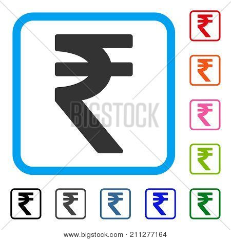 Indian Rupee icon. Flat gray iconic symbol in a blue rounded rectangular frame. Black, gray, green, blue, red, orange color variants of Indian Rupee vector.