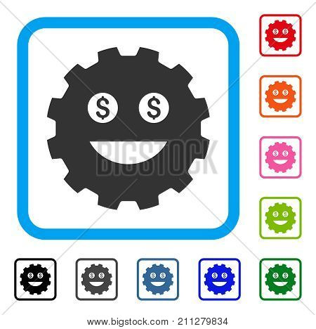 Lucky Smiley Gear icon. Flat grey iconic symbol inside a blue rounded rectangle. Black, gray, green, blue, red, orange color versions of Lucky Smiley Gear vector. Designed for web and software UI.