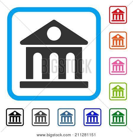 Museum Building icon. Flat grey pictogram symbol in a blue rounded rectangle. Black, gray, green, blue, red, orange color versions of Museum Building vector.