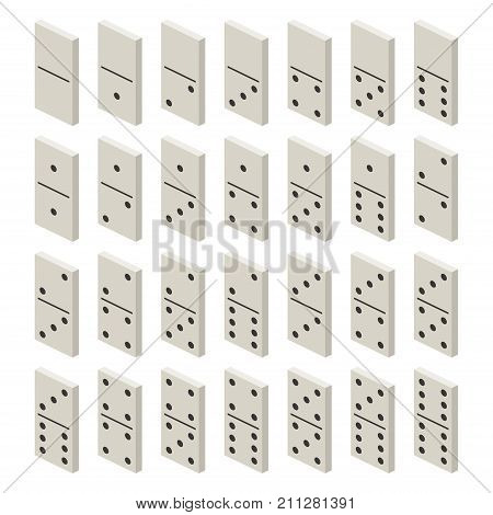 Isometric white domino full set. Classic game dominoes. Dominoes bones set 28 pieces Vector illustration