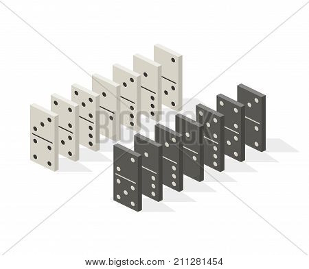 Row of white and black dominoes on white background. Concept of Domino effect. Vector illustration in flat isometric stile