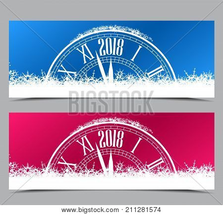 Happy New Year 2018, vector illustration Christmas background with clock showing year