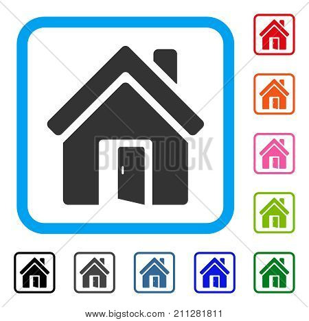 Open House Door icon. Flat gray pictogram symbol inside a blue rounded frame. Black, gray, green, blue, red, orange color additional versions of Open House Door vector.