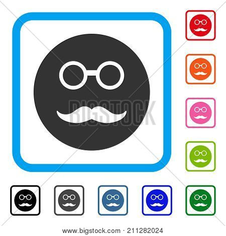 Pension Smiley icon. Flat grey pictogram symbol in a blue rounded rectangular frame. Black, gray, green, blue, red, orange color variants of Pension Smiley vector.