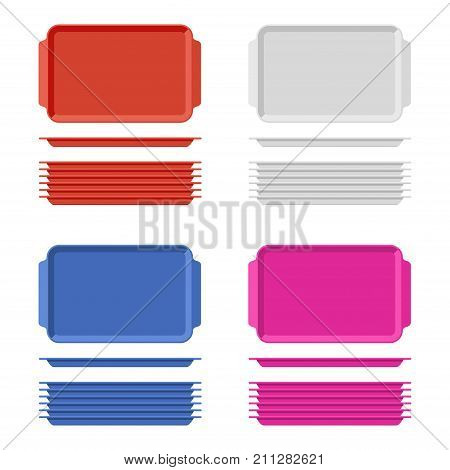 Plastic blank food tray set with handles. Rectangular kitchen salvers isolated on white background. Plastic tray for canteen illustration, top view plate rectangle stack. Vector illustration