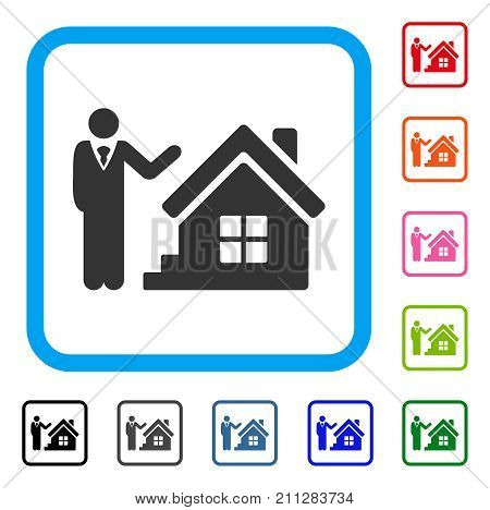 Realty Agent icon. Flat grey iconic symbol inside a blue rounded rectangle. Black, gray, green, blue, red, orange color variants of Realty Agent vector. Designed for web and app UI.
