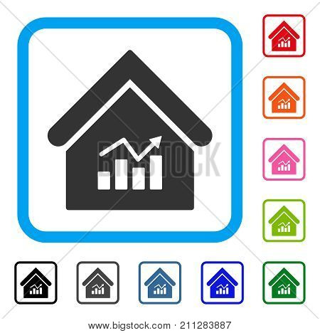Realty Charts icon. Flat grey iconic symbol inside a blue rounded rectangle. Black, gray, green, blue, red, orange color versions of Realty Charts vector.