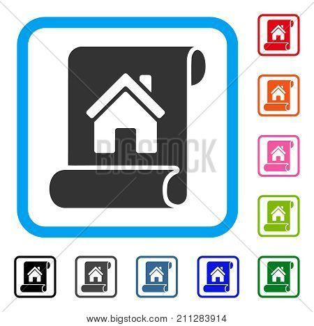 Realty Description Roll icon. Flat grey iconic symbol in a blue rounded rectangle. Black, gray, green, blue, red, orange color versions of Realty Description Roll vector.